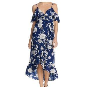 Aqua floral off the shoulder dress